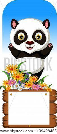funny panda cartoon posing with blank board