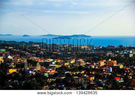 City of Sihanoukville lookout from mountain Sihanoukville Cambodia.