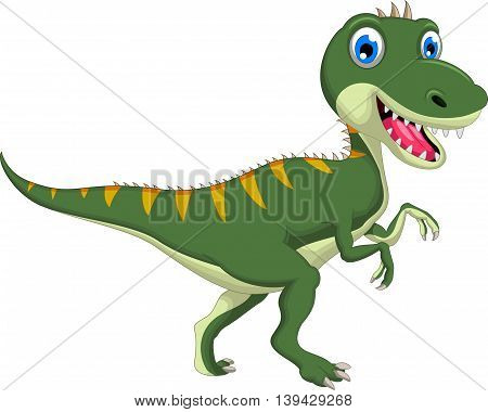 Cute dinosaur cartoon walking for you design