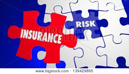 Insurance Vs Risk Security Safety Peace Mind Puzzle 3d Illustration