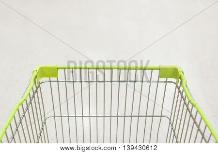 Closeup Of Trolley For Shopping At Supermarket