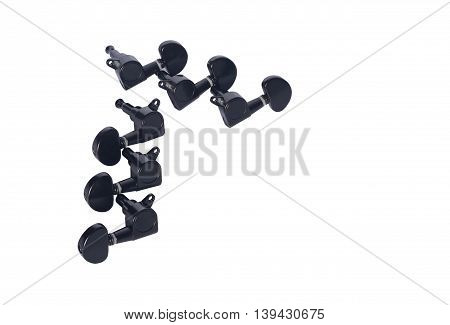Tuning head for acoustic guitar isolated on white background