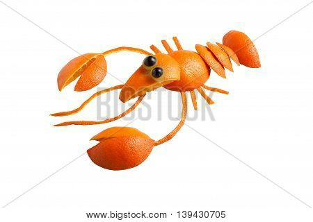 Crayfish made of orange on isolated background