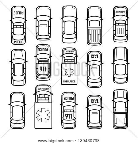 Cars top view thin line vector icons. Set of model car sedan, taxi and ambulance car in linear style illustration