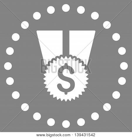 Financial Medal vector icon. Style is flat circled symbol, white color, rounded angles, gray background.