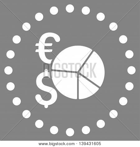 Financial Pie Chart vector icon. Style is flat circled symbol, white color, rounded angles, gray background.