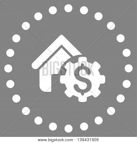 House Rent Options vector icon. Style is flat circled symbol, white color, rounded angles, gray background.