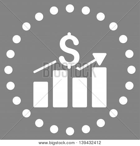 Sales Bar Chart vector icon. Style is flat circled symbol, white color, rounded angles, gray background.