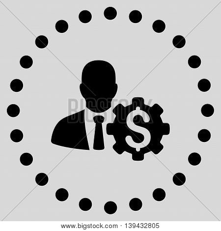 Banker Options vector icon. Style is flat circled symbol, black color, rounded angles, light gray background.