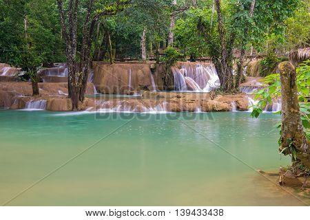 Waterfall In Rain Forest (tad Sae Waterfalls At Luang Prabang, Laos)