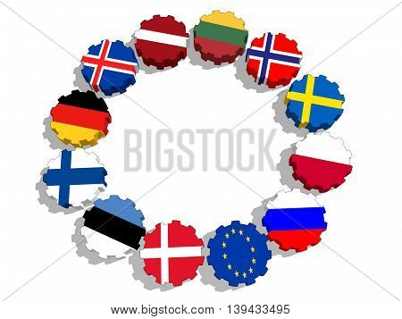 Council of the Baltic Sea States  - association of five national economies members flags on gear.3D rendering