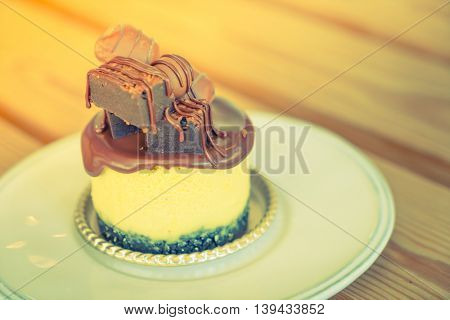 Chocolate cake  ( Filtered image processed vintage effect. )