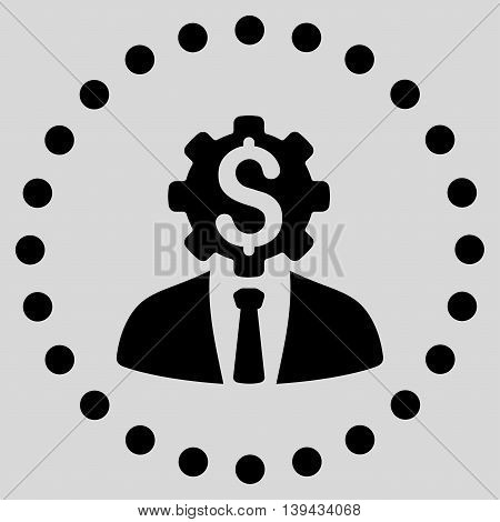 Office Worker vector icon. Style is flat circled symbol, black color, rounded angles, light gray background.
