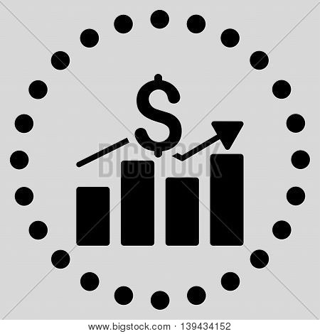 Sales Bar Chart vector icon. Style is flat circled symbol, black color, rounded angles, light gray background.