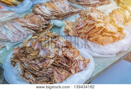 Traditional Of Dried Squid In The Market