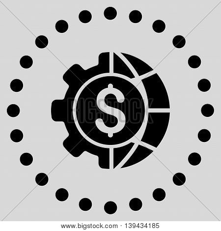World Industry Finances vector icon. Style is flat circled symbol, black color, rounded angles, light gray background.