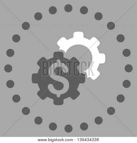 Bank Setup vector icon. Style is bicolor flat circled symbol, dark gray and white colors, rounded angles, silver background.
