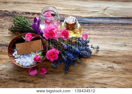 Spa still life with flowers and an empty tag