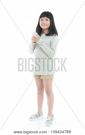 Beautiful Asian girl with mobile phone isolated on white background
