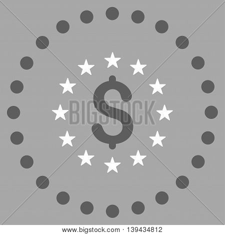 Dollar Stars vector icon. Style is bicolor flat circled symbol, dark gray and white colors, rounded angles, silver background.