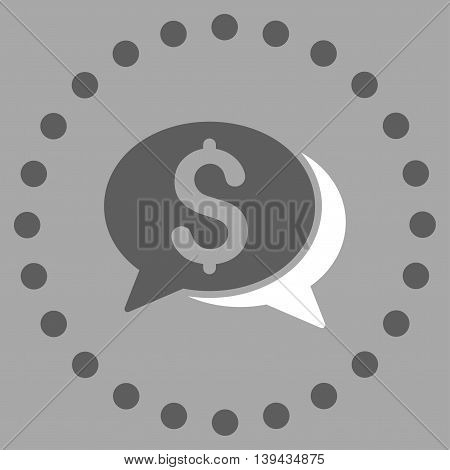 Financial Chat vector icon. Style is bicolor flat circled symbol, dark gray and white colors, rounded angles, silver background.