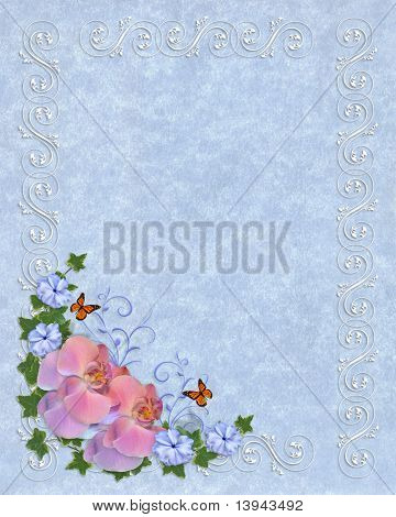 Orchids on blue parchment template