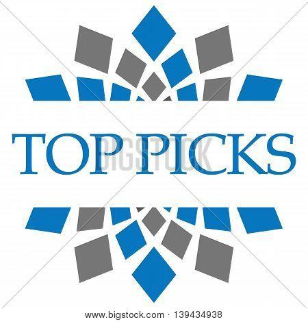Top picks text written over blue grey backgorund.