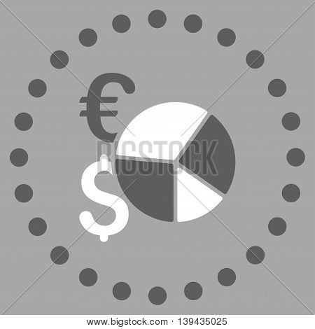 Financial Pie Chart vector icon. Style is bicolor flat circled symbol, dark gray and white colors, rounded angles, silver background.