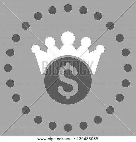Financial Power vector icon. Style is bicolor flat circled symbol, dark gray and white colors, rounded angles, silver background.