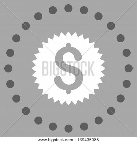Financial Stamp vector icon. Style is bicolor flat circled symbol, dark gray and white colors, rounded angles, silver background.