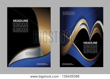 Abstract blue and orange background with wave - brochure design or flyer