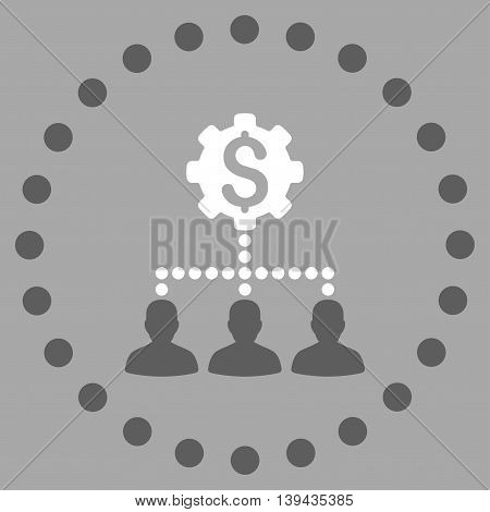 Industrial Bank Clients vector icon. Style is bicolor flat circled symbol, dark gray and white colors, rounded angles, silver background.