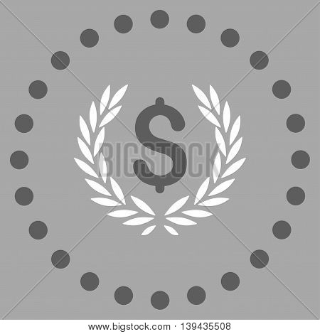 Laurel Bank Emblem vector icon. Style is bicolor flat circled symbol, dark gray and white colors, rounded angles, silver background.
