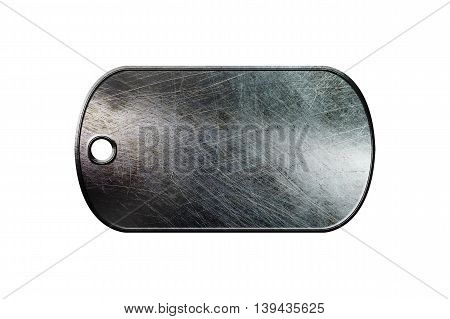old metal dog tag on isolated white background. 3d illustration.
