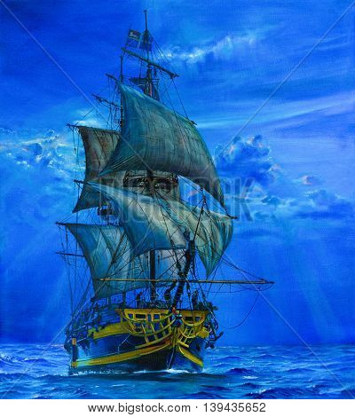 Painting of The Sailing Ship in the blue ocean.