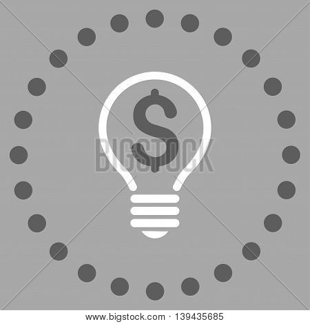 Patent vector icon. Style is bicolor flat circled symbol, dark gray and white colors, rounded angles, silver background.