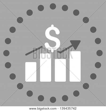 Sales Bar Chart vector icon. Style is bicolor flat circled symbol, dark gray and white colors, rounded angles, silver background.