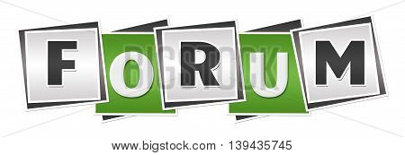 Forum text alphabets written over green grey background.