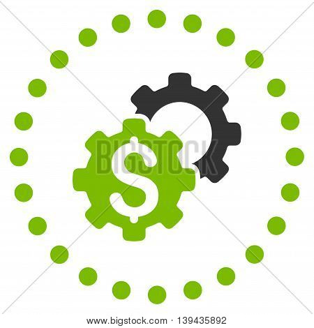 Bank Configuration vector icon. Style is bicolor flat circled symbol, eco green and gray colors, rounded angles, white background.