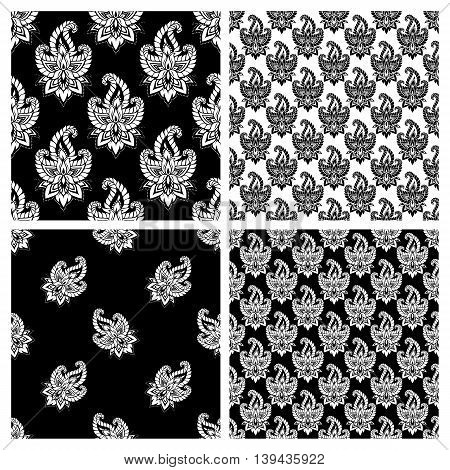 Seamless pattern set based on traditional Asian elements Paisley. Boho vintage style vector background. Best motive for print on fabric or papper.