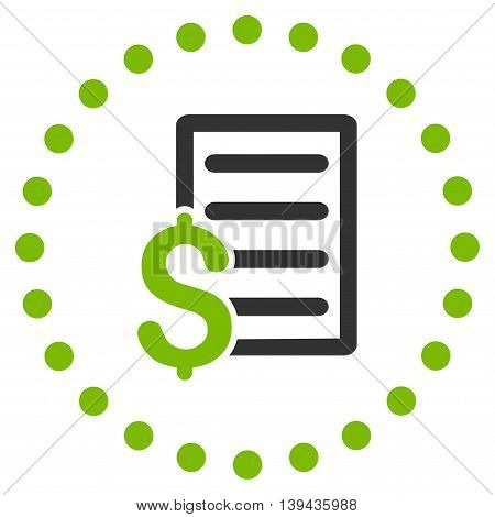 Contract vector icon. Style is bicolor flat circled symbol, eco green and gray colors, rounded angles, white background.