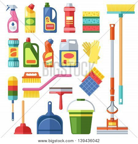 House cleaning tools and cleaning products flat vector icons set. Vector cleaning products symbols. House cleaning illustration. Other cleaning icons isolated on white background