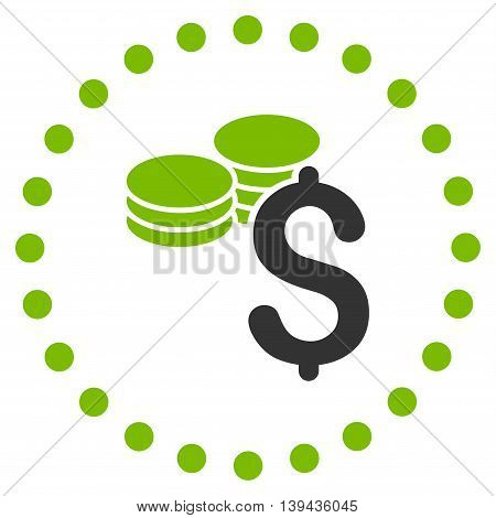 Dollar Coins vector icon. Style is bicolor flat circled symbol, eco green and gray colors, rounded angles, white background.