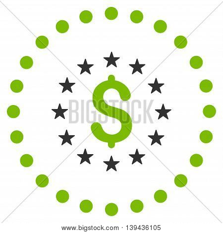 Dollar Stars vector icon. Style is bicolor flat circled symbol, eco green and gray colors, rounded angles, white background.