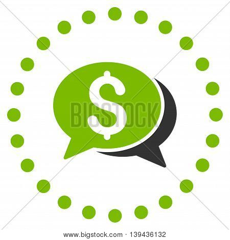Financial Chat vector icon. Style is bicolor flat circled symbol, eco green and gray colors, rounded angles, white background.