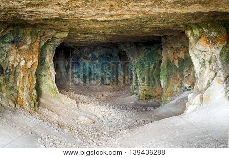 Old abandoned close-up adit for limestone mining