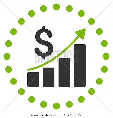 Financial Report vector icon. Style is bicolor flat circled symbol, eco green and gray colors, rounded angles, white background.