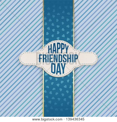 Happy Friendship Day festive Emblem with Text. Vector Illustration