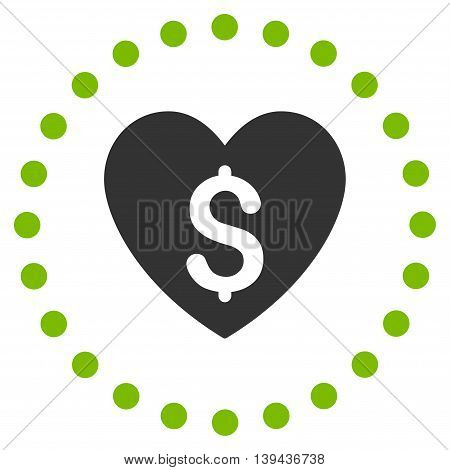 Paid Love vector icon. Style is bicolor flat circled symbol, eco green and gray colors, rounded angles, white background.