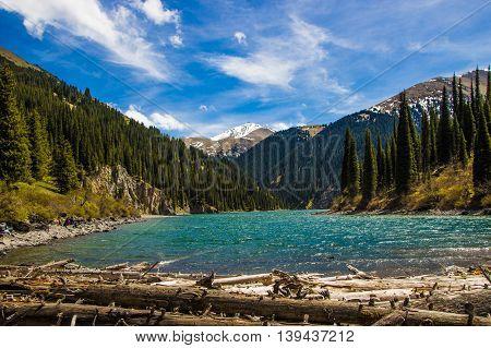 Kolsay mountain lake in Kazakhstan 2016 may